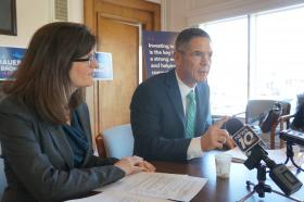 Democratic gubernatorial candidate Mark Schauer and running mate Lisa Brown announced their education plan Wednesday in Lansing.