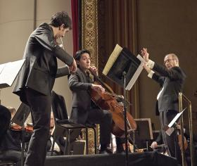Violinist Itamar Zorman, cellist David Requiro and A2SO music director Arie Lipsky with the Double Concerto by Brahms