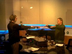 In Studio S, Bob Teachout talks Current State host Mark Bashore through some tai chi movements.