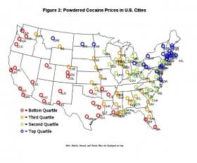 MSU professor Dr. Siddharth Chandra has devised a map that tracks cocaine trafficking across U.S. cities. Red circles indicate cities where cocaine is least expensive. These are often hub cities from which cocaine is distributed. Blue circles show destination cities where cocaine is most expensive.