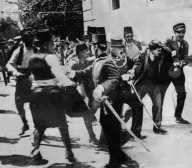 The arrest of Gavrilo Princip, who murdered Archduke Franz Ferdinand in Sarajevo on June 28, 1914.
