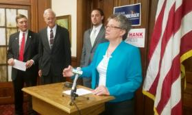 Four Democrats are campaigning together as each seeks their party's nomination for Michigan's 8th congressional district.  The incumbent, Mike Rogers (R-Brighton) is leaving Congress at the end of his term.  The Michigan primary election will be held August 5.  From left: Eric Schertzing, Ken Darga, Jeff Hank and Susan Grettenberger.