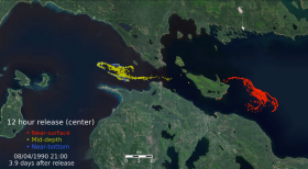 The University of Michigan animation shows the damage that would occur if a pipeline rupture occurred near the Mackinac Bridge.