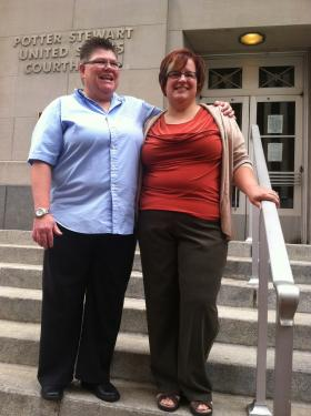 Jayne Rowse and April DeBoer on the steps of the federal courthouse in Cincinnati before the 6th Circuit US Court of Appeals hears arguments in their challenge to Michigan's same-sex marriage ban.