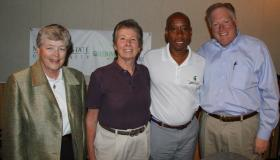 left to right: President Simon, Sue Carter, Vennie Gore, Bill Beekman