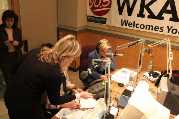Gretchen Millich, Jennifer Granholm at WKAR Studio
