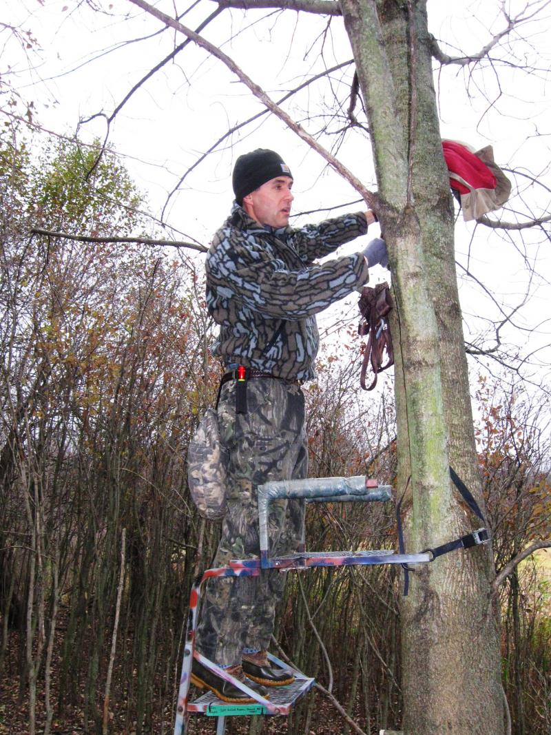 Jon sets up his tree stand
