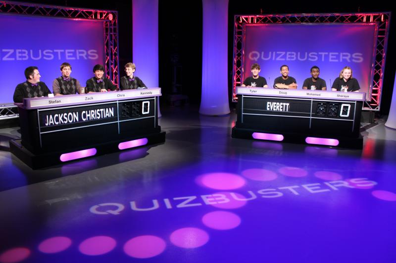 Jackson Christian Royals and Everett Vikings prepare to compete in QuizBusters season 23 Grand Championship match.