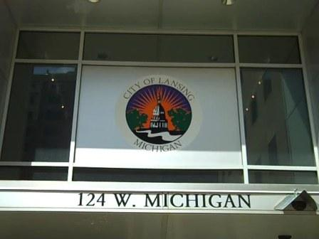 The entrance to Lansing's City Hall.