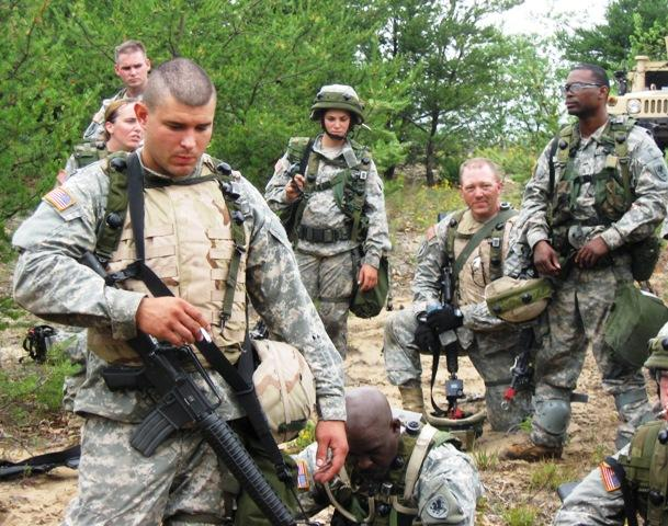 The Michigan Army National Guard is learning to use a GPS device that tracks troop movements in combat.