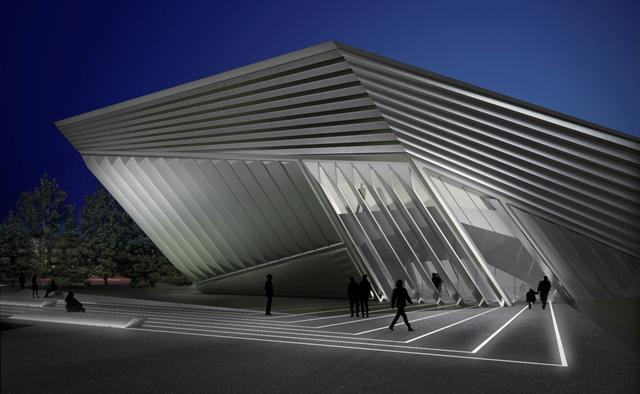 An artist's rendering of the Eli and Edythe Broad Art Museum at night.