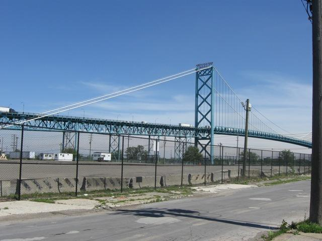 The Ambassador Bridge connects Detroit and Windsor, Ontario.
