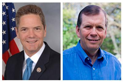 Left: Rep. Mark Schauer (D-Battle Creek).  Right: Tim Walberg (R-Tipton).