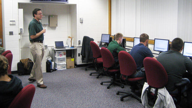 Justin Jagger teaches a lab session in the MSU Department of Supply Chain Management. Photo: Scott Pohl/WKAR