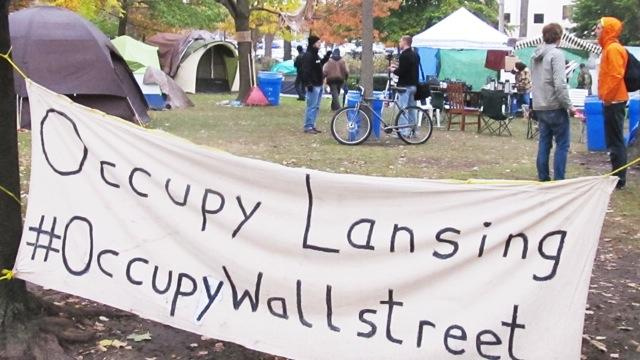 Members of Occupy Lansing are camped out in Reutter Park in downtown Lansing.