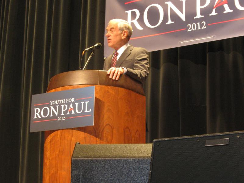GOP presidential candidate Ron Paul addresses a rally on the MSU campus Monday.
