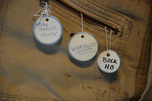 These are a few of the tags that adorn Eisenberg's piece called Stella.