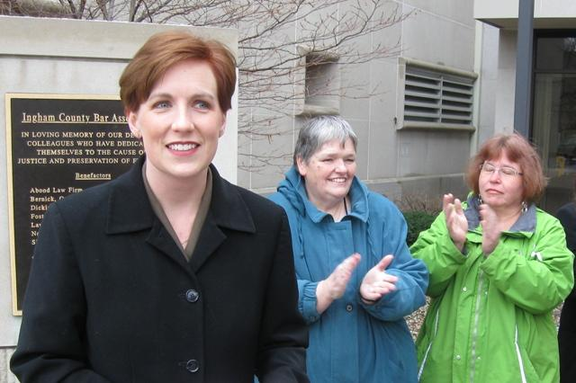 Democratic State Rep. Barb Byrum (left) will run for Ingham County Clerk in August.  Lansing City Clerk Chris Swope is expected to announce his candidacy later this year.
