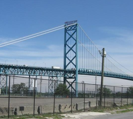 The Ambassador Bridge links Detroit and Windsor, Ontario.