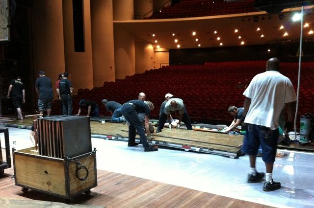 "The crew was busy assembling the ""Wicked"" set at the Wharton Center this week."