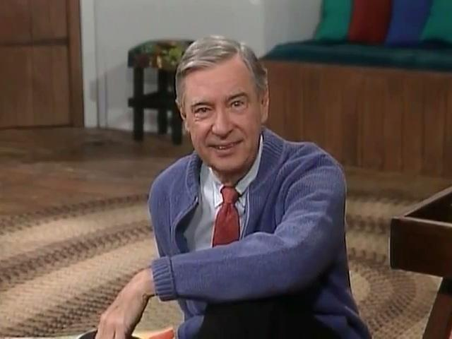 Mr. Rogers in living room