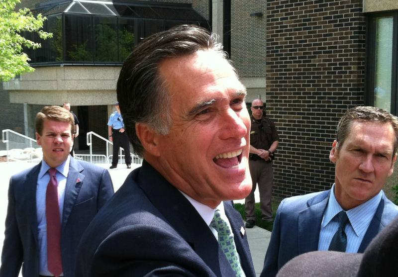 GOP presumptive presidential nominee Mitt Romney greets supporters during a visit to Lansing Community College in May.