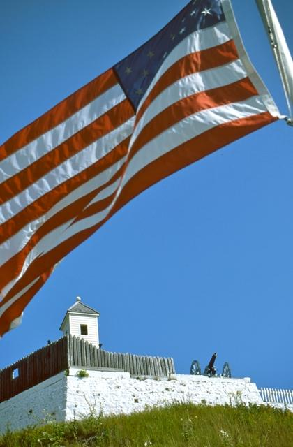 The 15 star flag flies at Fort Mackinac, as it would have before being captured by the British on July 17, 1812.