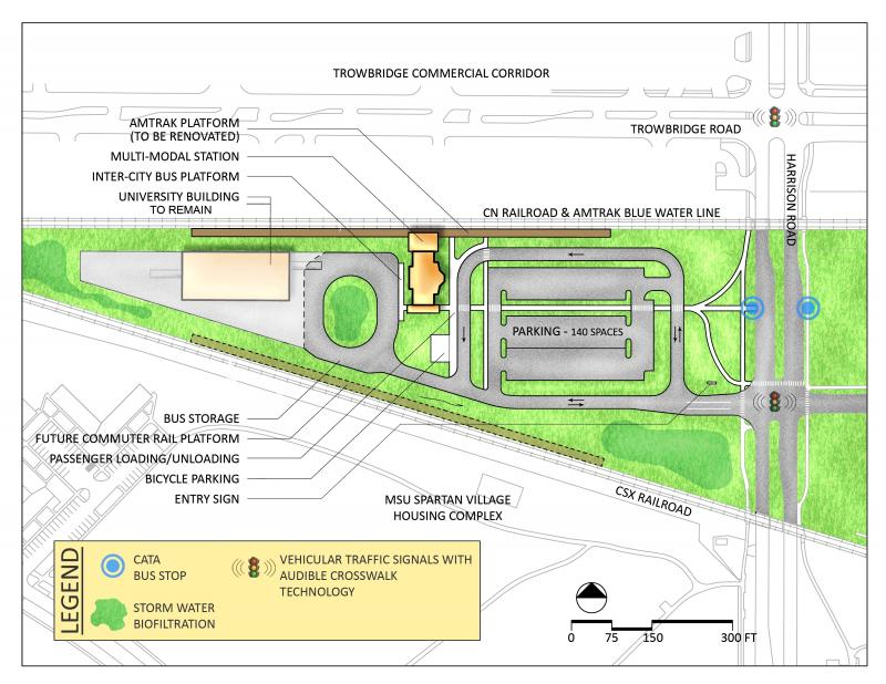 The renovation plan calls for a new train depot and bus terminal to be built over a 200-acre site at the corner of Trowbridge and Harrison Road in East Lansing.