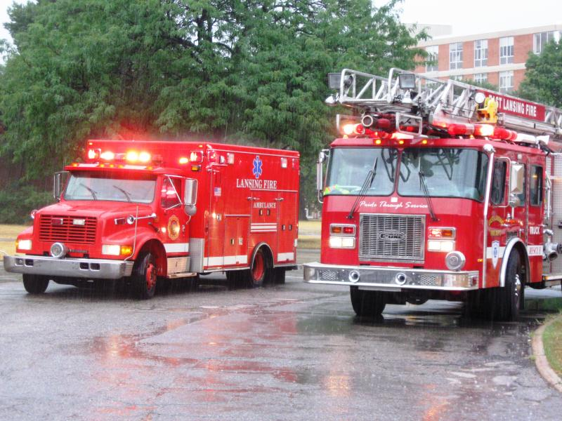 First responders worked through a driving rain Wednesday morning to complete their assignments.