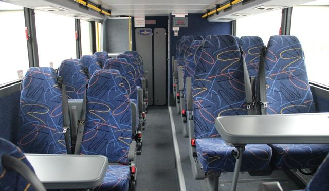 The interior of a Megabus.com motor coach.