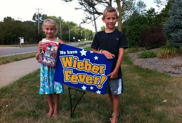 Elena and Mason Sermak are rooting for Jordyn Wieber to bring a gold medal home to DeWitt. They got her autograph on a cereal box.