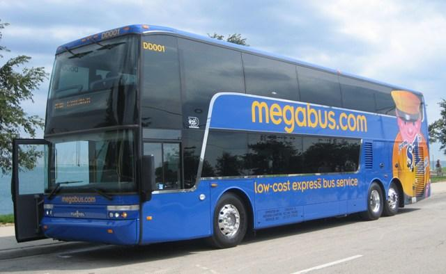 The Megabus.com service serving East Lansing will eventually run double-decker buses with a capacity of 81 passengers.