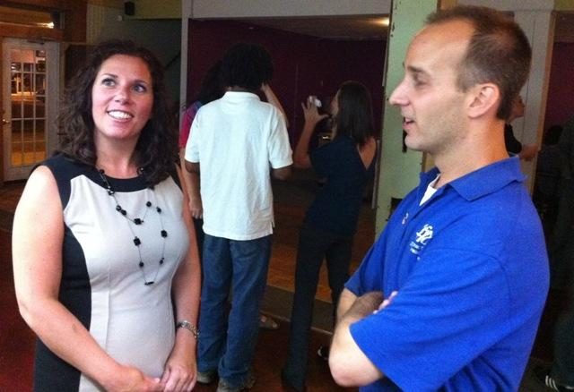 Andy Schor with supporter Nicole Armbruster of the Lansing Board of Education, at his rally at Gone Wired in Lansing.