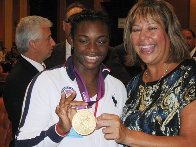 Claressa Shields poses with State Rep. Marilyn Lane (D-Fraser).