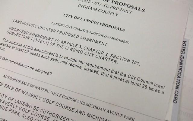 Picture of Lansing, Michigan ballot proposal language.