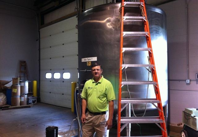 The 2,000 gallon mixing tank at TopDuck Products. Don Kettles is planning to add an 8,000 gallon mixer.