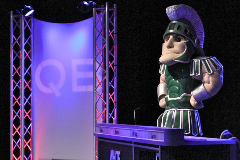 MSU mascot Sparty on the set of the QuizBusters TV show