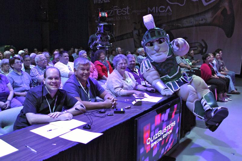 MSU mascot Sparty at the judging table