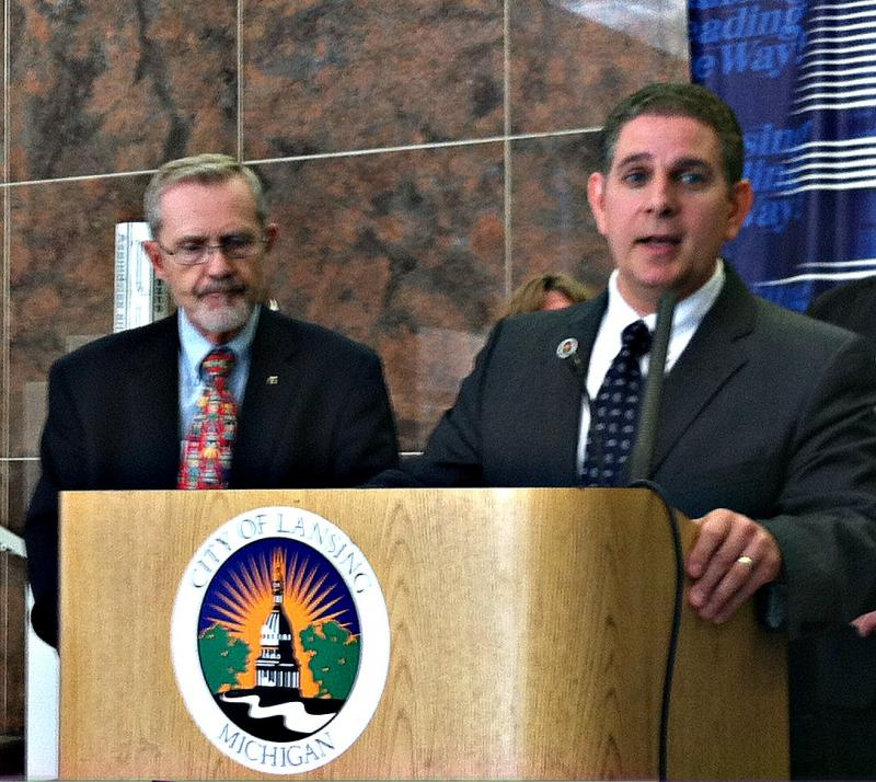 Lansing Mayor Virg Bernero introduces ex-Mayor David Hollister as chair of the administration's new 'Financial Health Team'