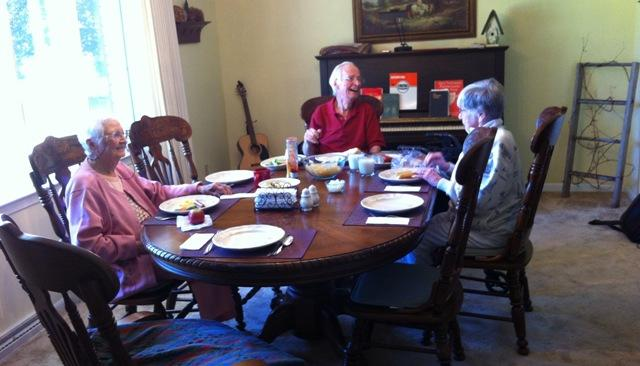 Lunch is served to Crosaires elders. Left to right: Virginia Ellefson; Don and Lois McCorvie