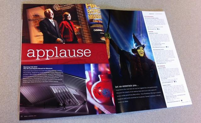 The Broad Art Museum is prominently featured in the Greater Lansing 2012 Visitor Guide.
