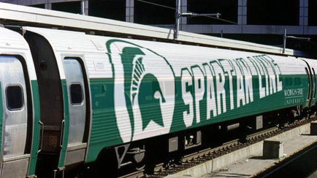 The Prima Civitas Spartan Line Initiative will use this AMTRAK car to bring alumni from Chicago to East Lansing in November. The itinerary includes a football game and a Broad Art Museum tour.