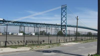 A photo of Detroit's Ambassador Bridge.