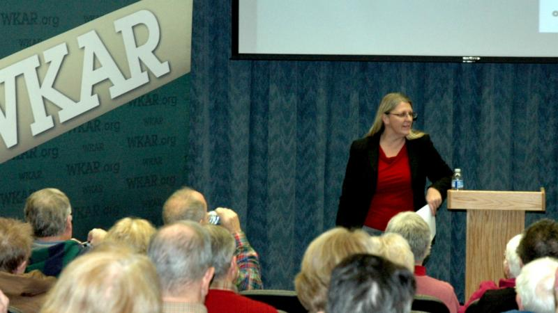 Cathy Zell welcomed guests to An Evening at WKAR.