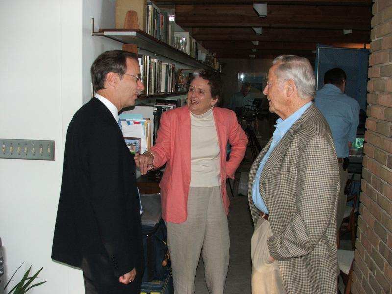 Tim Skubick with Former Michigan Governor William Milliken and First Lady Helen Milliken