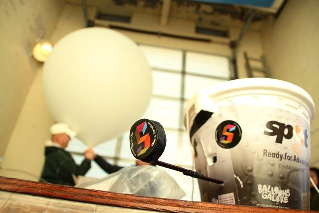 The balloon payload consisted of a Styrofoam bucket containing five digital HD cameras to record the journey.