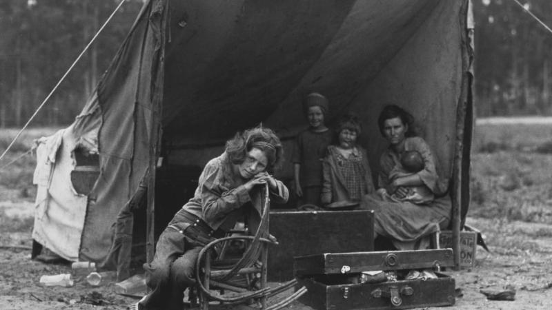A family takes shelter during the Dust Bowl period.