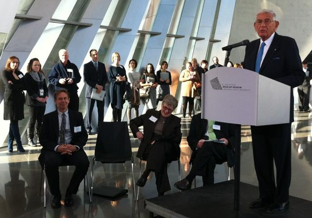 Eli Broad speaks at the art museum bearing his name on the MSU campus