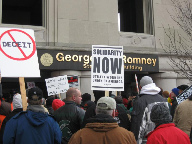 Outside the entrance to the Romney building, site of Governor Rick Snyder's office.