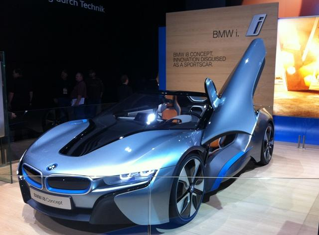 BMW's display includes the i8 concept car.